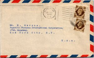 Homerton UK > H Marcus Republic Pictures NYC NY airmail envelope 1948