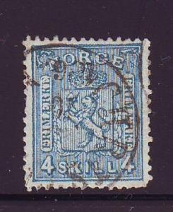 Norway Sc 14 1867 4 sk Coat of Arms Lion stamp used
