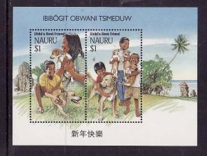 Nauru-Sc#409b-Unused NH sheet-Child's Best Friend-Dogs-1994-