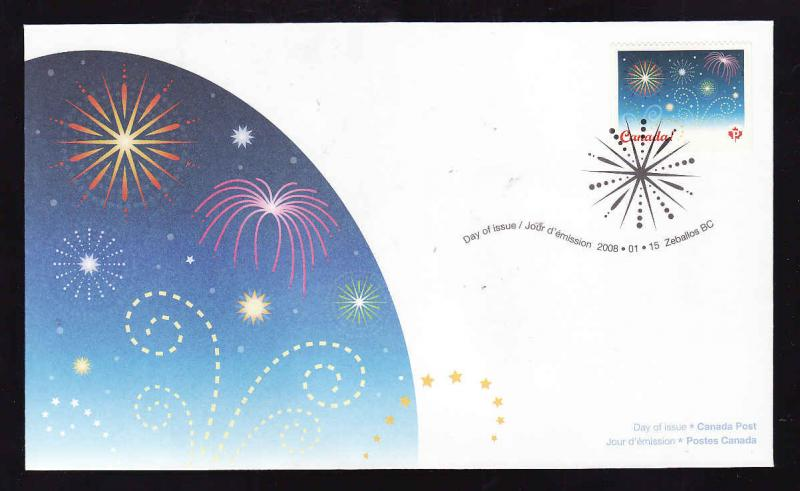 Canada-Sc#2259-stamp on FDC-Fireworks-Celebrations-2008