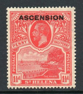 Ascension 1922 o/p on St Helena KGV 1½d SG 3 mint