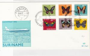 Suriname 1972 Air flight First day issue mixed Butterflies stamps cover ref21767