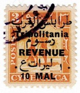 (I.B) BOIC (Tripolitania) Revenue : Duty Stamp 10m on 3m OP