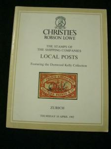ROBSON LOWE AUCTION CATALOGUE 1985 STAMPS OF SHIPPING Co's LOCAL POSTS 'KELLY'