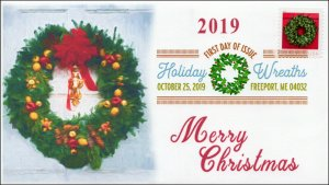 19-275, 2019, Holiday Wreaths, Digital Color Postmark, FDC, Christmas