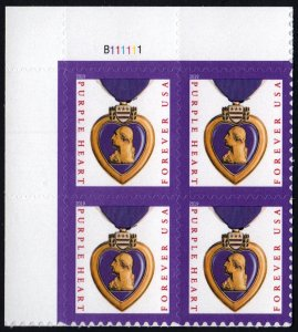 NEW ISSUE (55¢) Purple Heart Plate Block: UL #B111111 (2019) SA