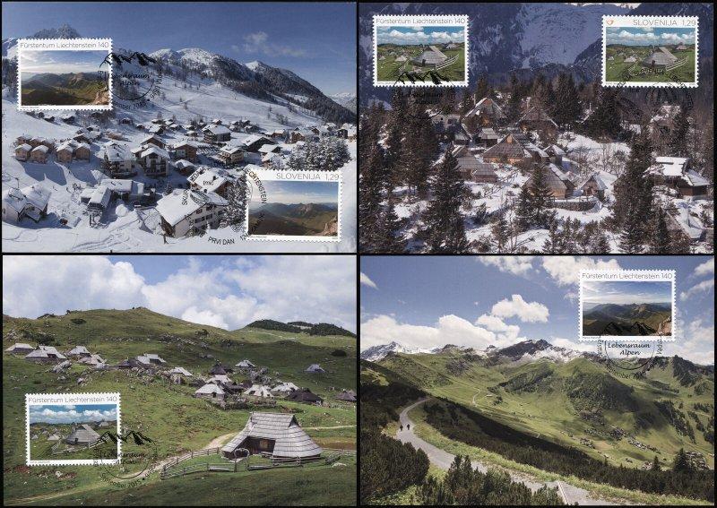 Liechtenstein. 2015. Alps - Joint Issue with Slovenia (Mint) Set of 4 Maxi Cards