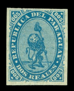 PARAGUAY 1870  LION & Liberty Cap   2r blue  Scott # 2 UNUSED VF