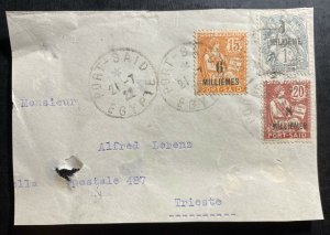 1922 Port Said Egypt French Agency Front Only Cover To Triest Italy Sc#53