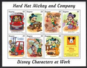 Guyana -Disney Hard Hat Mickey and Company VF NH 7 Stamps