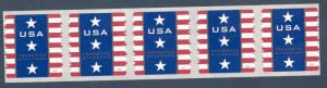 4157 Patriotic Banner Presorted Strip Of 5 Mint/nh Free Shipping