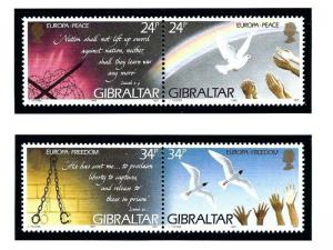 Gibraltar 677a and 679a MNH 1995 Europa