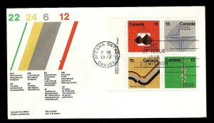 Canada-Sc#585a-stamps on FDC-UL plate block of 4-Earth Sciences-1972-
