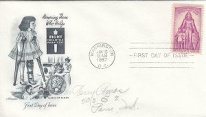 1957, Honoring Those Who Help, Artmaster, FDC (D13399)