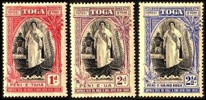 Tonga 1938 20th Anniv Queen Salote's Accession Sg71/Sg73 Wmk Tortoise S'ways MM
