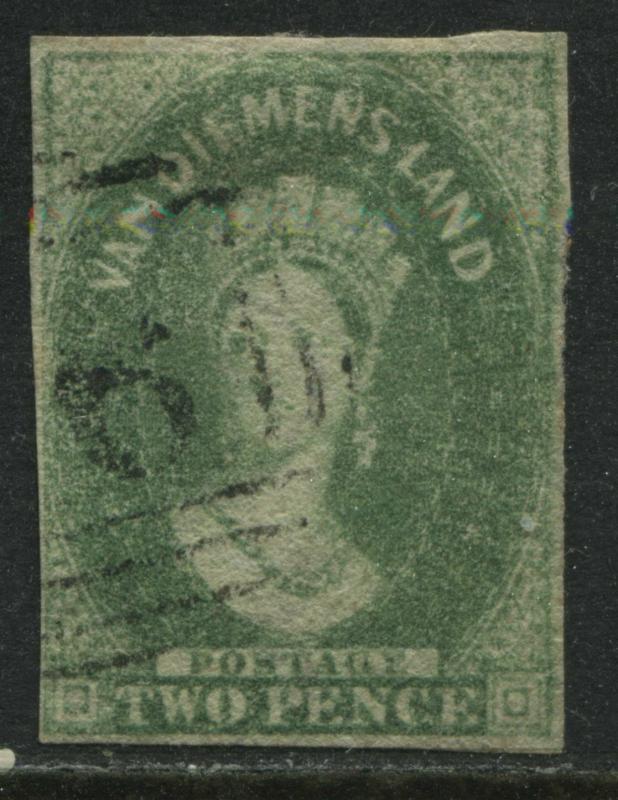 Tasmania QV 1860 2d yellow green used