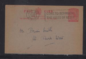 BERMUDA PSC  (P1108B)  1953  1D SLOGAN COME TO BERMUDA  ST GEORGE HISTORICAL SOC