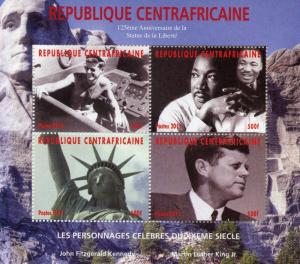 Central Afr Rep 2011 MNH Statue of Liberty JFK Martin Luther King 4v M/S Stamps