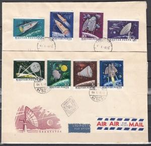 Hungary, Scott cat. 1562-1569. Space Research issue. 2 First day covers.