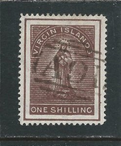 BRITISH VIRGIN IS 1887-89 1s BROWN FU SG 41 CAT £70