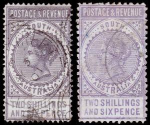 South Australia Scott 81, 81b (1886) Used F, CV $27.50 M