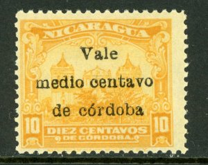 Nicaragua 1918 Cathedral Provisional ½¢/10¢ Scott 367 MNH M469