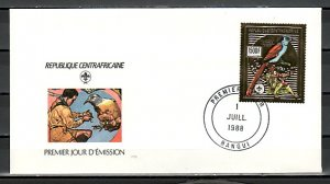 Central Africa, Scott cat. 893a. Scouts & Birds Gold Foil. First day cover. ^