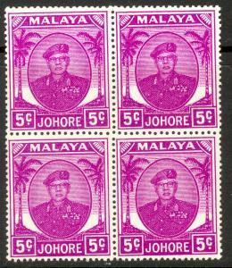 MALAYA JOHORE 1949-55 5c Sultan Ibrahim Portrait Issue BLOCK 4 Scott 134 MNH