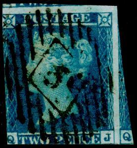 SG14, 2d blue, USED. Cat £85. QJ