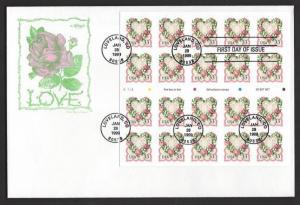 USA 1999 33c LOVE BOOKLET PANE OF 20 U/A CACHET FDC Sc 3274a PLATE V1333