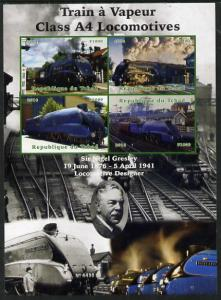 Chad 2014 Steam Trains - A4 Locomotives large imperf shee...