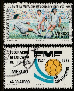 MEXICO C534-C535, 50th Anniversary Soccer Federation. USED. VF. (345)