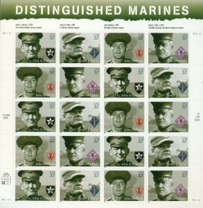 US: 2004 DISTINGUISHED MARINES; Complete Sheet Sc 3961-64; 37 Cents Values