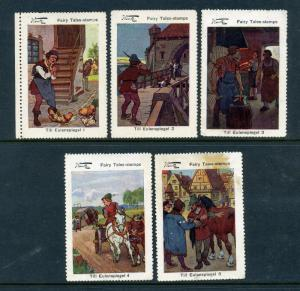 Wentz Till Eulenspiegel Complete Set of 5 Large Cinderella POSTER STAMPS (Lot W2
