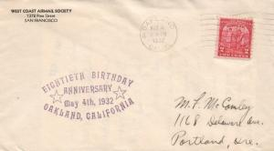 1932 Oakland California West Coast Airmail Society 18th Anniversary Postal Cover