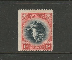 Barbados 1920 Victory Crown CA, 1d A missing from CA in Wmk, MM SG 203b