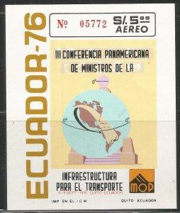 ECUADOR  C585 MNH, SS,  WESTERN HEMISPHERE AND EQUATOR MONUMENT