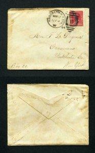 Cover from Brooklyn, NY to Oscawana, NY with sister letter inside - 5-17-1894