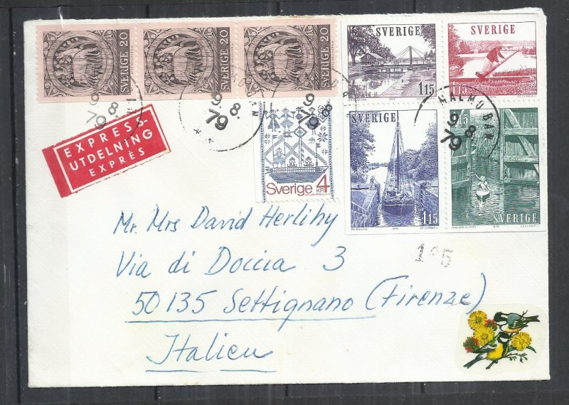 SWEDEN 1979 - EXPRES COVER TO ITALY - POSTALLY USED