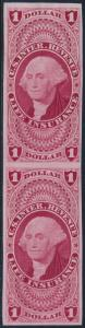 #R71TC3a $1.00 LIFE INSURANCE PLATE PROOF ON INDIA PAPER PAIR (CARMINE) BR282