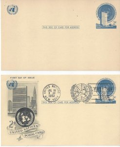 United Nations New York UX1 Postal Card Mint and Artcraft FDC