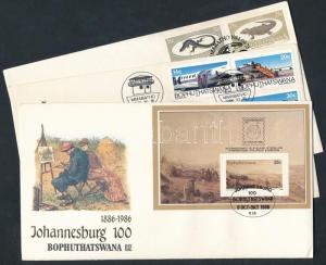 South-Africa-Bophuthatswana stamp 1984-1986 3 FDC + block WS201851