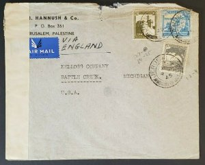 1945 Palestine Battle Creek Michigan Hannush Kellogg Censorship Air Mail Cover