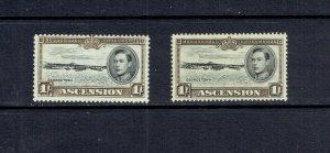 ASCENSION ISLAND - 1938 KING GEORGE VI - 1sh - BOTH PERFS - SCOTT 46 & 46a
