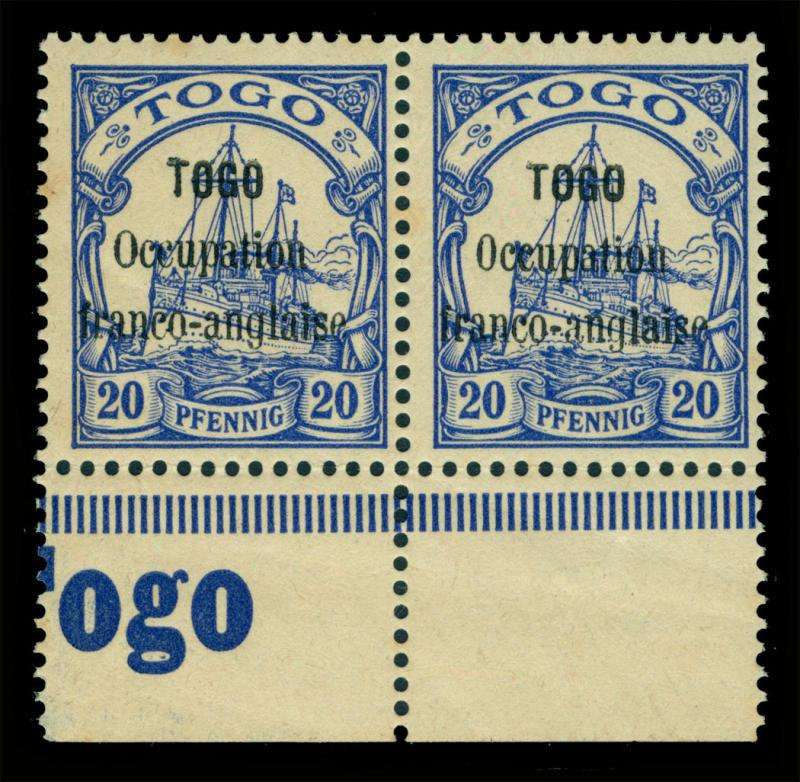 German Colonies - TOGO 1914 FRENCH OCCUPATION - Yacht  20pf Sc#158 mint MNH PAIR
