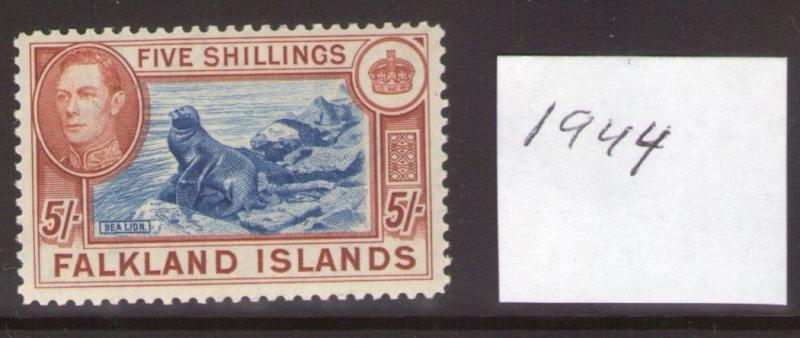 FALKLAND ISLANDS GEORGE VI SG161c 4th ptg. lightly hinged.