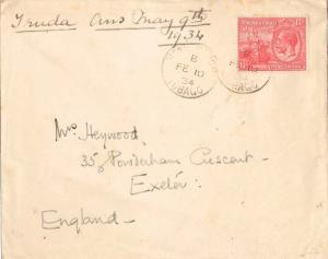 Trinidad 1d KGV and Britannia 1926 Roxborugh, Tobago Printed matter to Exeter...
