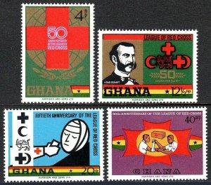 Ghana 378-381, MNH. League of Red Cross Societies, 50th anniv. 1969