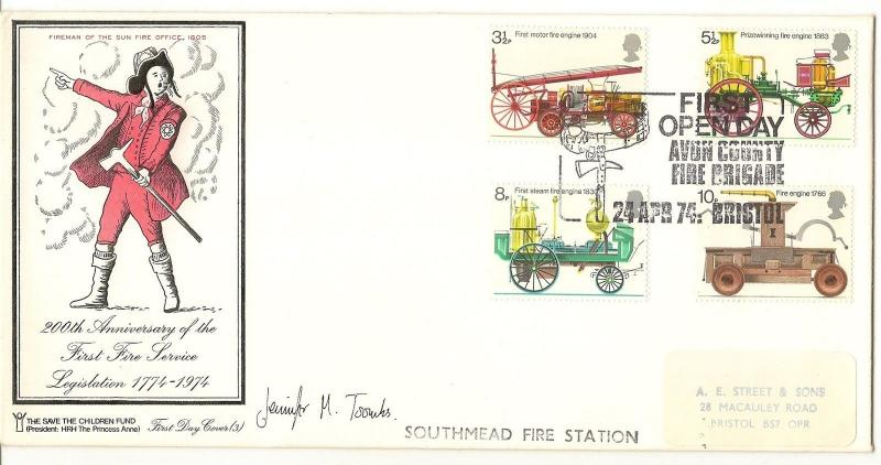 GB 1974 Fire Service Avon Cancel Signed FDC