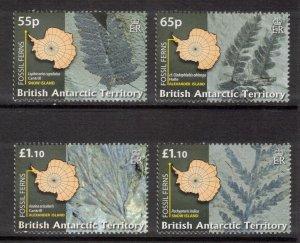 BRITISH ANTARCTIC 2008 Fossil Ferns; Scott 401-04, SG 486-89; MNH